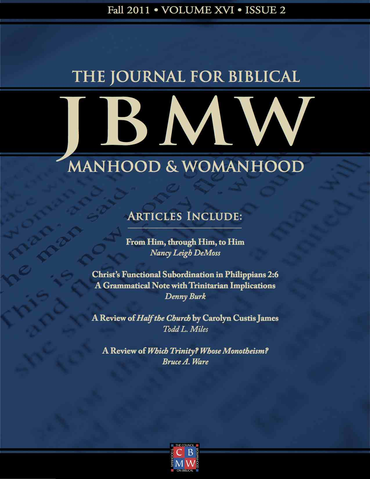 Journal for Biblical Manhood and Womanhood table of contents available