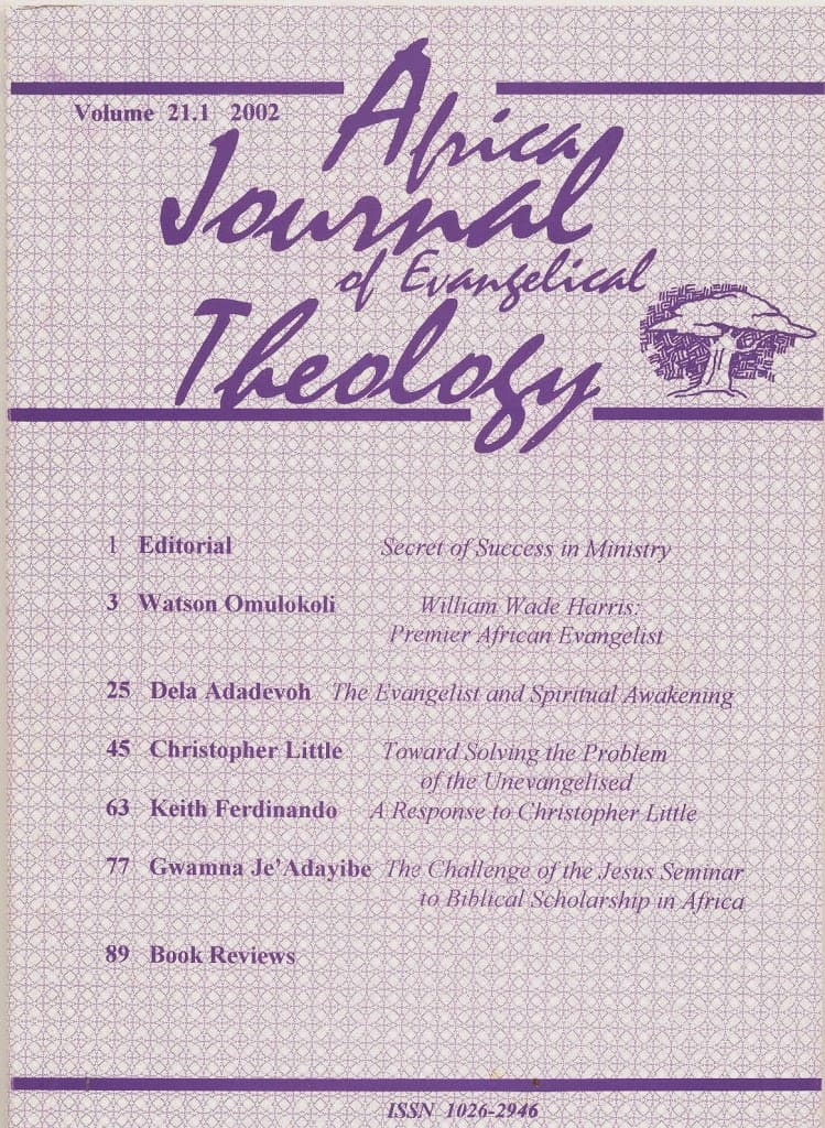 Africa Journal of Evangelical Theology Vols. 21-30 Now Online