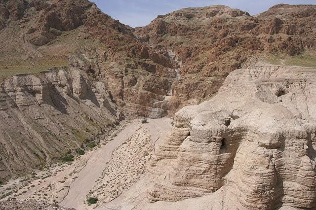 The Caves near Khirbet Qumran were the Dead Sea Scrolls were discovered