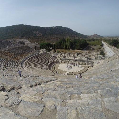 Theatre and harbour street, Ephesus