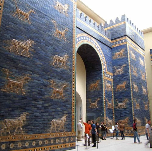 A reconstruction of the blue-tiled Ishtar Gate which was the northern entrance to Babylon. It was named for the goddess of love and war. Bulls and dragons, symbols of the god Marduk, decorated the gate.