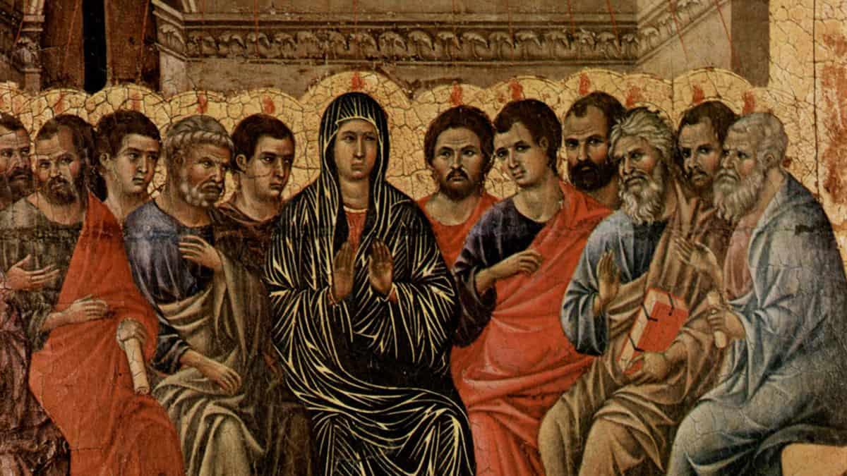 A typical Western image of the Pentecost. Duccio di Buoninsegna (1308)