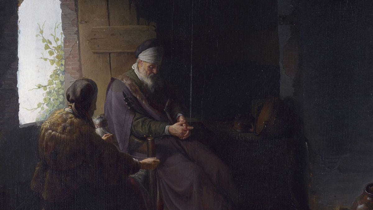 Anna and the Blind Tobit, Rembrandt and Dou (1630)
