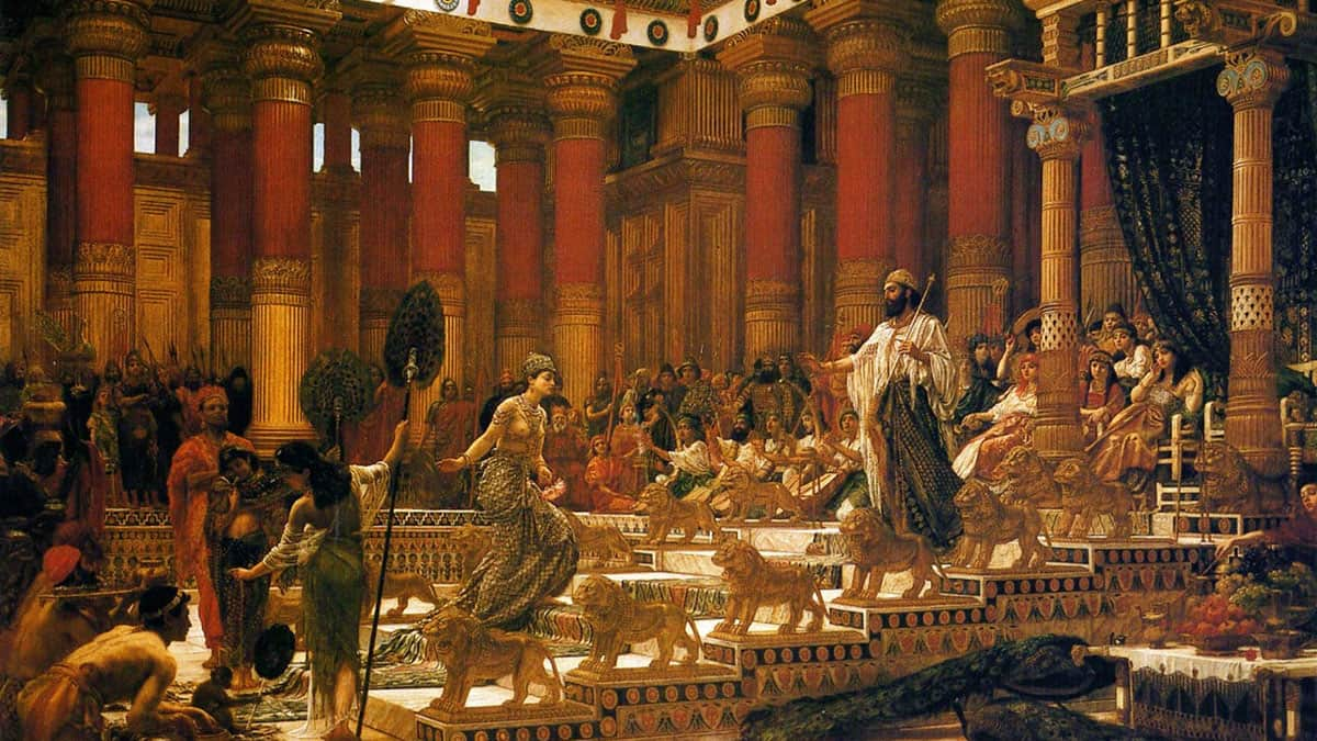 The Visit of the Queen of Sheba to King Solomon. Oil on canvas painting by Edward Poynter, 1890.