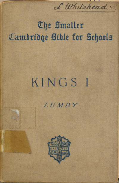 Joseph Rawson Lumby [1831-1895], The First Book of Kings with Map, Introduction and Notes